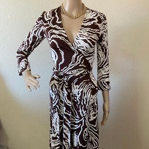Diane Von Furstenberg Julian Brown Wrap Dress 4